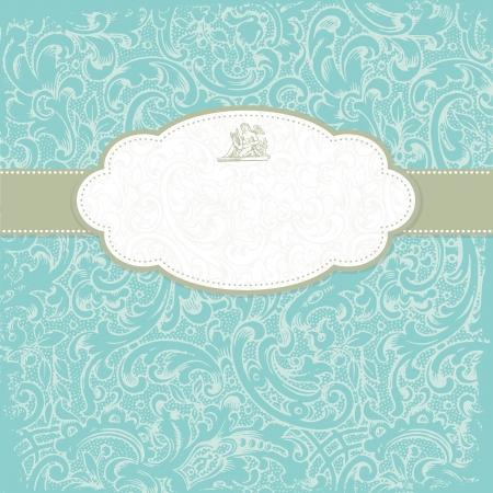 teal background: Vintage elegant invitation card with floral background