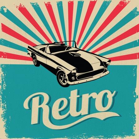 otomotiv: Vintage araba tasarımı afiş - Grungy stil vektör tasarım Çizim