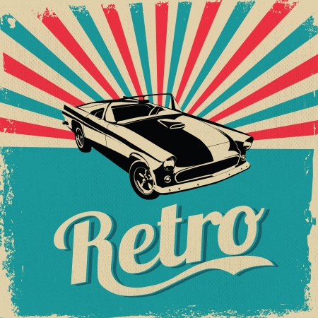 car garage: Vintage car design flyer - Grungy style vector design