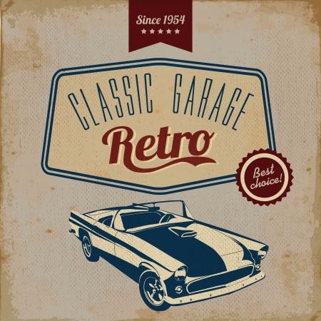 garage automobile: Vintage d�pliant design automobile - Grungy vecteur conception de style Illustration