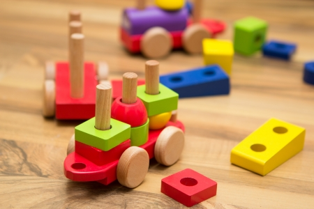 toy shop: Colorful wooden toys