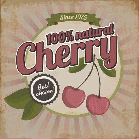 Vintage poster or brochure design with cherry  Illustration