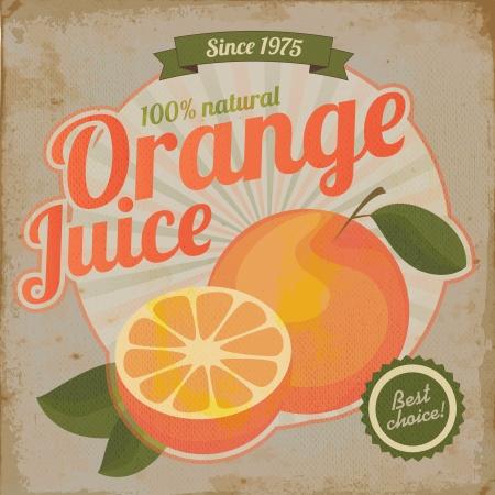오렌지 주스 복고풍 전단지 빈티지 그림