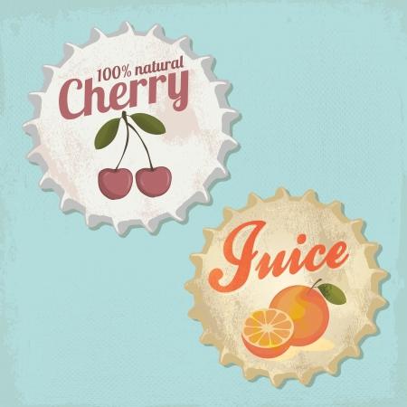 빈티지 botle 캡 디자인 - 오렌지와 체리 주스