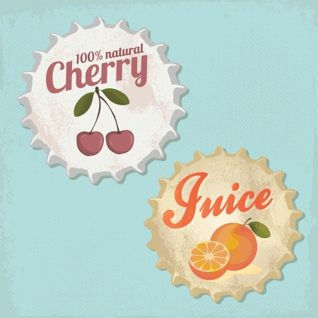 botle: Vintage botle cap design - Orange and Cherry Juice Illustration