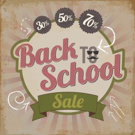 Weinlese-back to school Verkauf Brosch�re Vektor-Illustration Illustration