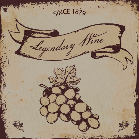 Wine or grape juice label or brochure vintage style vector Illustration