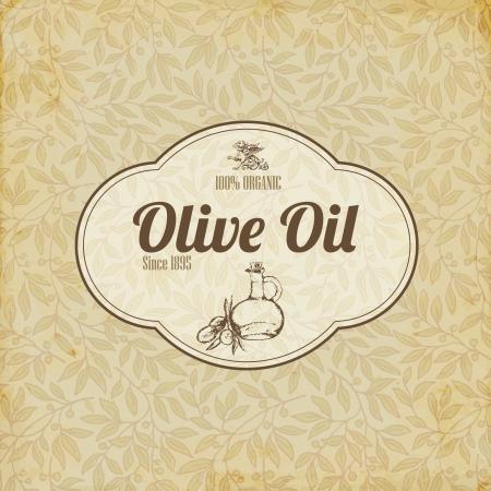 aceite de cocina: Aceite de la etiqueta elegante de la vendimia de oliva o un folleto