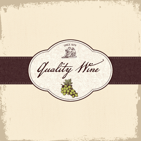 Vintage wine or grape juice label or brochure vector Vector