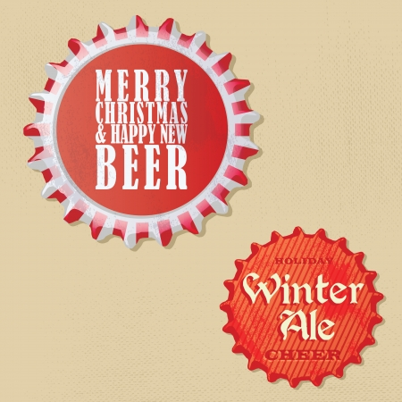 Retro Vintage bottle caps design - Christmas and winter edition Vector