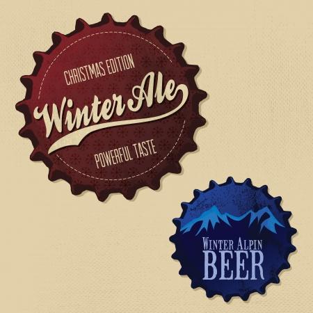 Retro Vintage bottle caps design - Christmas and winter edition