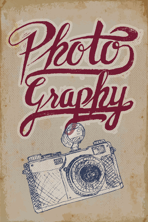 Vintage camera poster with hand-drawn elements and grungy background Illustration