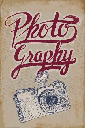 Weinlese-Kamera-Poster mit handgezeichneten Elementen und Grunge Hintergrund Illustration