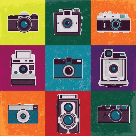 Colorful collection of retro camera set  Vintage vector illustration Vector