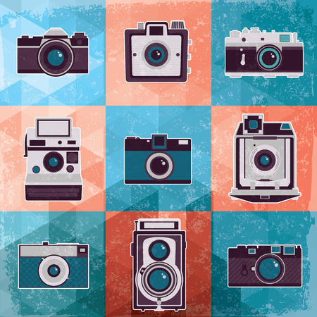 Colorful collection of retro camera set  Vintage vector illustration