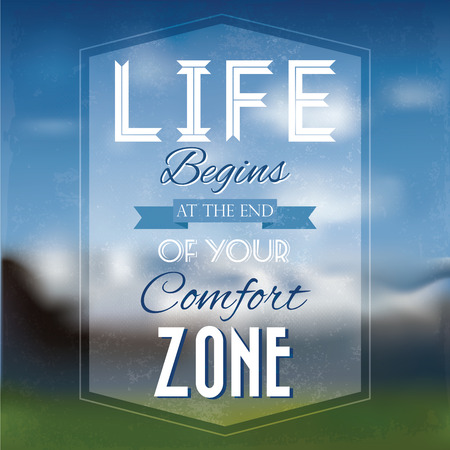 Vector illustration Lifestyle Quote Typographical Background on smooth blurry background with nature and mountains