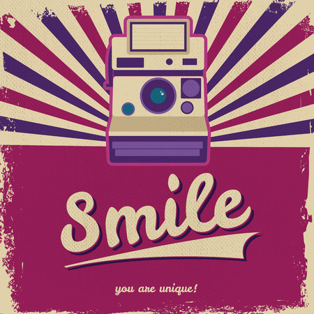 Vintage camera design flyer - Grungy style vector design