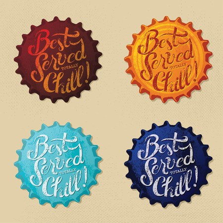 Retro bottle cap Design - Best Served totally Chill - Vintage bottle caps