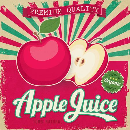 カラフルなビンテージ リンゴ ジュース ラベル ベクトル イラスト ポスター
