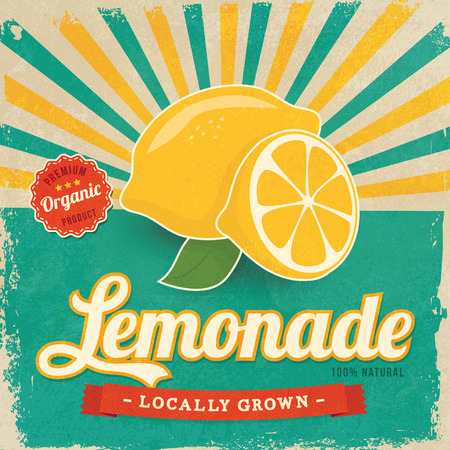 lemon: Colorful vintage Lemonade label poster vector illustration