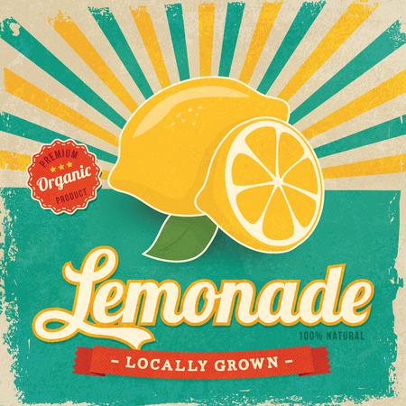 Illustrazione d'annata variopinta di vettore del manifesto dell'etichetta della limonata Vettoriali