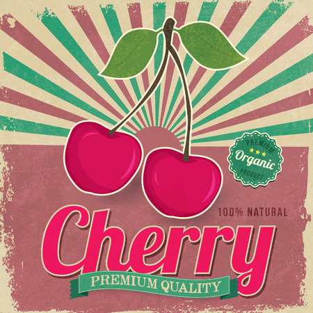 Colorful vintage Cherry label poster vector illustration