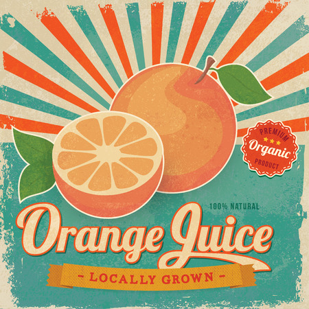 Kleurrijke vintage Orange Juice label poster vector illustratie Stock Illustratie