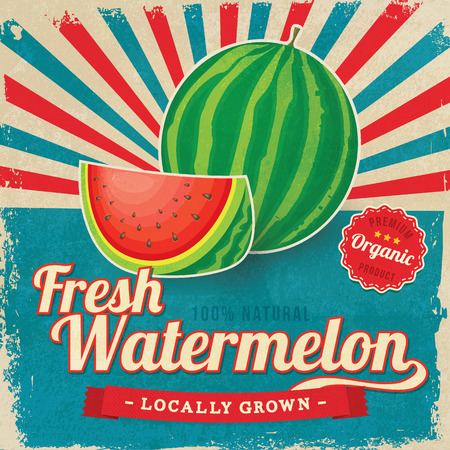 melon field: Colorful vintage Watermelon label poster vector illustration Illustration