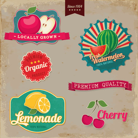 Vintage fruit labels  Vintage tags illustration collection  Vector