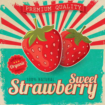 old poster: Colorful vintage Strawberry label poster vector illustration