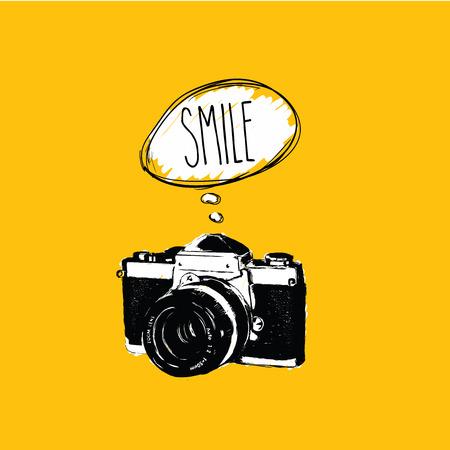 Vintage photo camera says  SMILE  vector design
