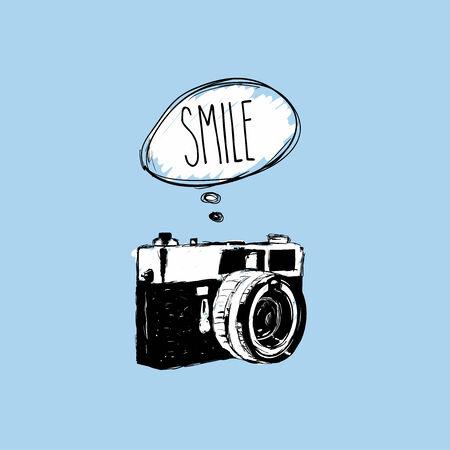 speach: Vintage photo camera says  SMILE  vector design