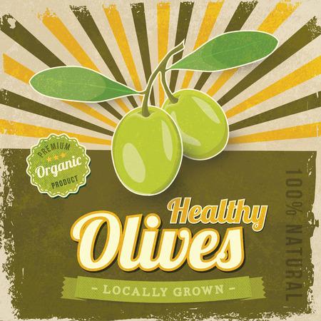 foglie ulivo: Etichetta Olive Vintage illustrazione vettoriale manifesto