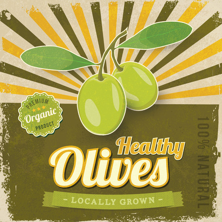 olive leaves: Vintage Olive label poster vector illustration