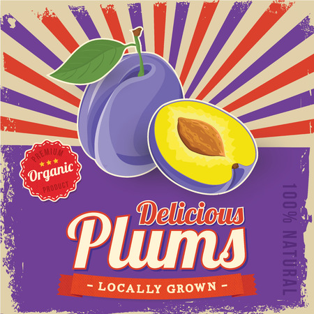 Colorful vintage Plums label poster vector illustration