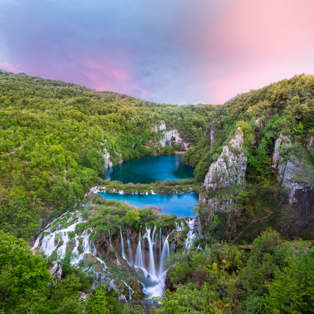 Breathtaking sunset view in the Plitvice Lakes National Park  Croatia
