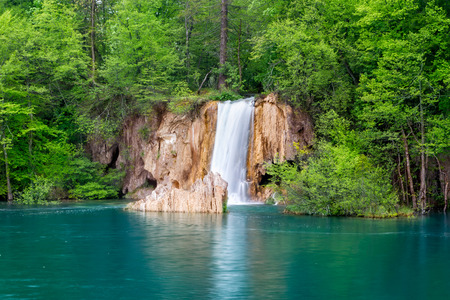 crystal clear: Deep forest waterfall with crystal clear water  Plitvice lakes, Croatia