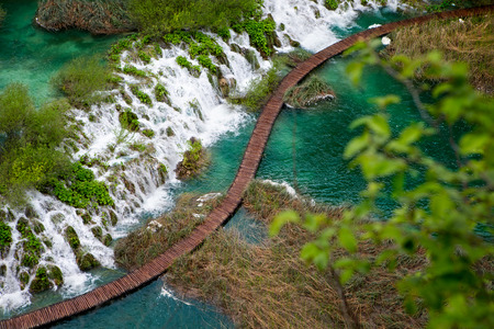 plitvice: Scenic aerial view of cascades and pathway, Plitvice Lakes National Park, Croatia Stock Photo