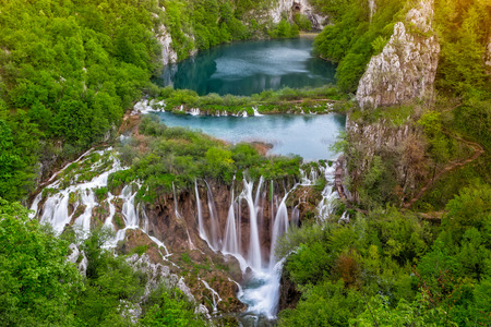 Breathtaking view of waterfalls in the Plitvice