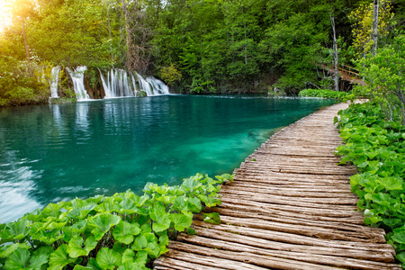 Beautiful view of waterfalls in Plitvice Lakes National Park. Stock Photo