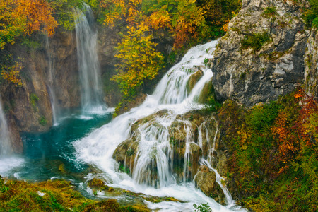 the natural world: Detailed view of the beautiful waterfalls in the sunshine in Plitvice National Park, Croatia Stock Photo