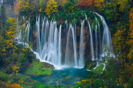 the world heritage: Breathtaking aerial view of a great waterfall in Plitvice National Park, Croatia UNESCO world heritage site Stock Photo