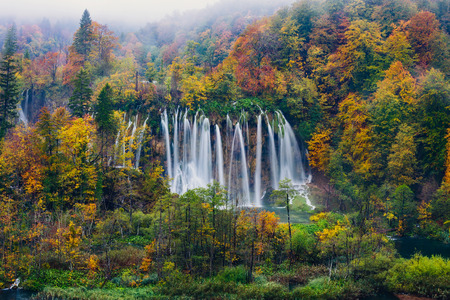 natural wonders: Majestic view of a great waterfall in Plitvice National Park, Croatia
