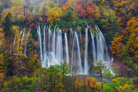 Majestic  view of a great waterfall in Plitvice National Park, Croatia