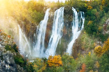 world heritage site: Beautiful waterfalls in the sunshine in Plitvice National Park, Croatia UNESCO world heritage site