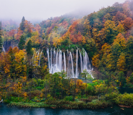 the world heritage: Breathtaking view of a great waterfall in Plitvice National Park, Croatia UNESCO world heritage site