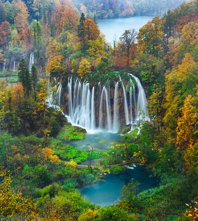 natural wonders: Breathtaking aerial view of a great waterfall in Plitvice National Park, Croatia UNESCO world heritage site Stock Photo