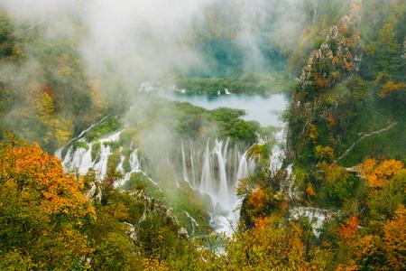 world heritage site: Greatest waterfalls in Plitvice National Park, Croatia UNESCO world heritage site Stock Photo