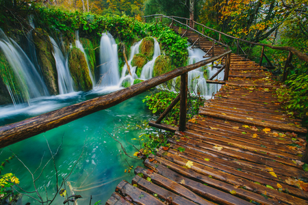 Deep forest stream with crystal clear water with pathway. Plitvice lakes, Croatia