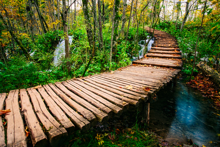 garden scenery: Beautiful wooden bridge pathway in the deep forest over a turquoise colored water creek in Plitvice, Croatia, UNESCO world heritage Stock Photo